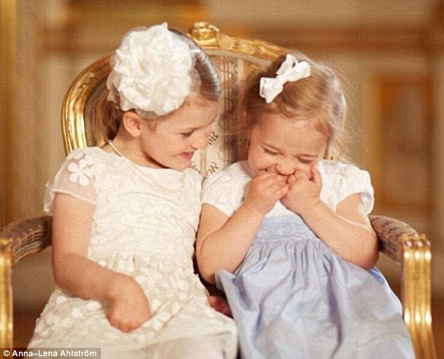 Two-year-old Princess Leonore (right) and her cousin Princess Estelle, four, are as close as sisters