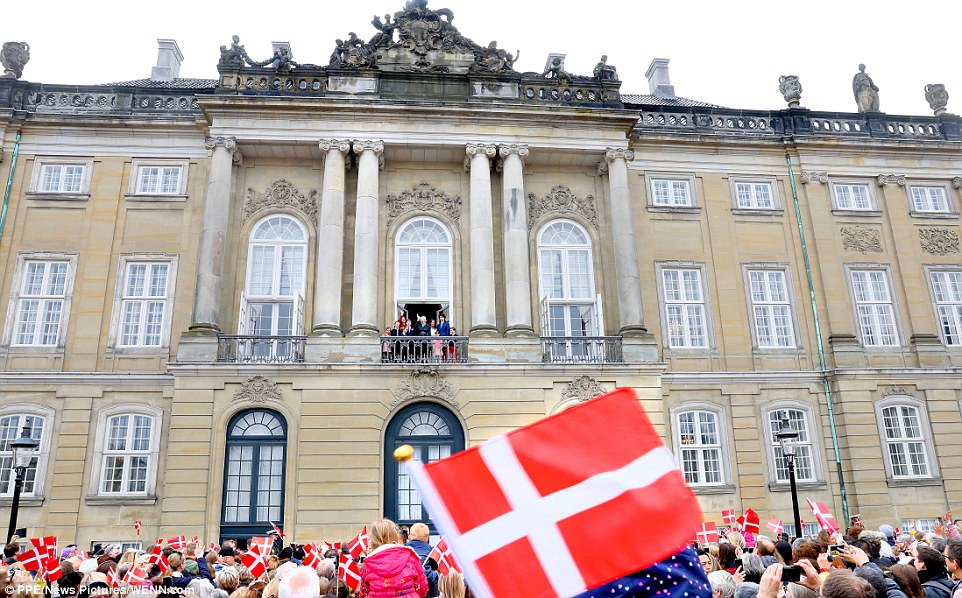 Well-wishers gathered at the palace in Copenhagen waved Danish flags as they cheered for the Queen on her birthday