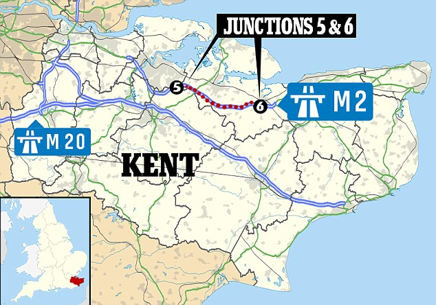 Location: Long tailbacks built up after the M2 in north Kent was shut between junction 5 and junction 6