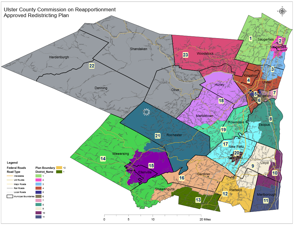 Ulster County's current district plan, developed by an independent redistricting commission, is widely regarded as fair