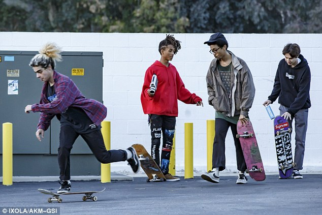 Talented teens: The group showed off their latest tricks with each of them sporting their own colorful skateboards