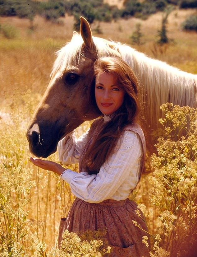 Wow:She's also starred in the TV series Dr. Quinn, Medicine Woman, as well as movies Somewhere In Time and East Of Eden; pictured in 1993 in character