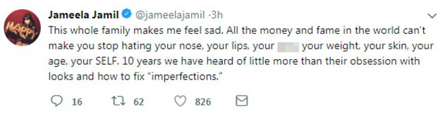 Sad: She added that the whole family made her 'feel sad', adding that 'All the money and fame in the world can¿t make you stop hating your nose, your lips, your a***, your weight, your skin'