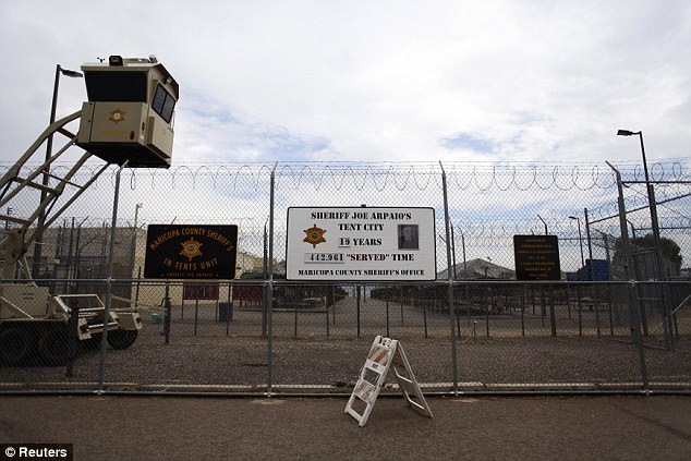 Traditions: Other prisons are opting for a more traditional - and more expensive - Thanksgiving meal for their inmates. The Clark County Jail meal will be four times as expensive and will have real turkey breast. Above, a picture of Arpaio's jail