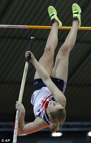 Holly Bleasdale attempting the pole vault
