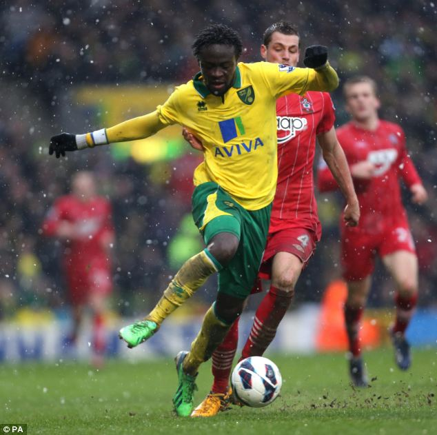Full debut: Kei Kamra started his first game for Norwich but couldn't help find a goal