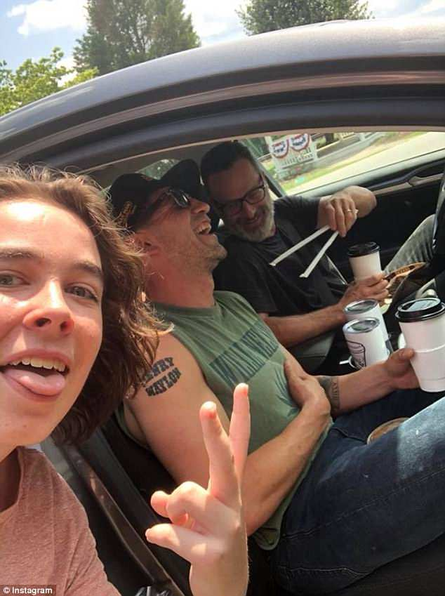 Getting the day started:Another snapshot features the Fury actor hanging out with the Teachers star in a car outside of a coffee shop
