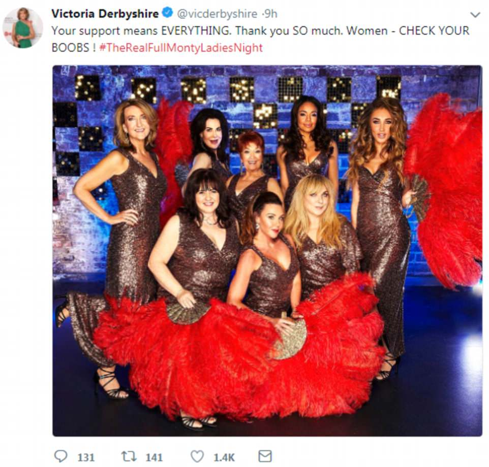 After the routine Victoria tweeted her thanks to her fellow performers and fans for their support and urged women to check their breasts for cancer