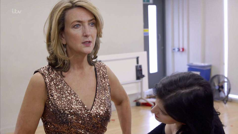 The breast cancer survivor during a fitting for her performance costume, created by a designer who has made costumes for Strictly