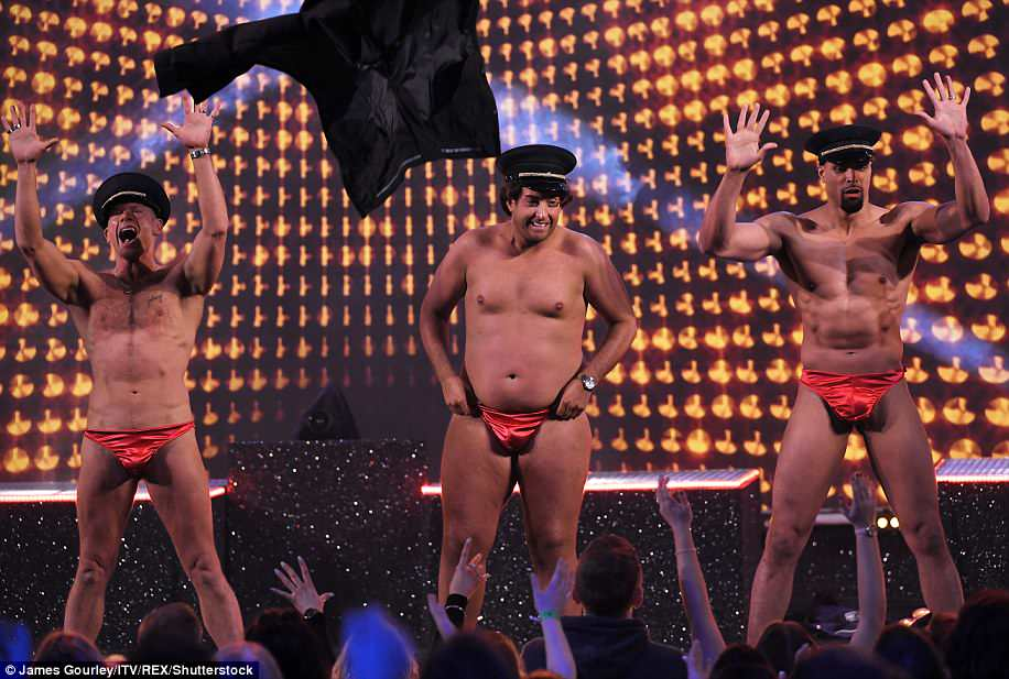 Red hot! Arg was joined by John and Ashley on stage in their tiny red underwear
