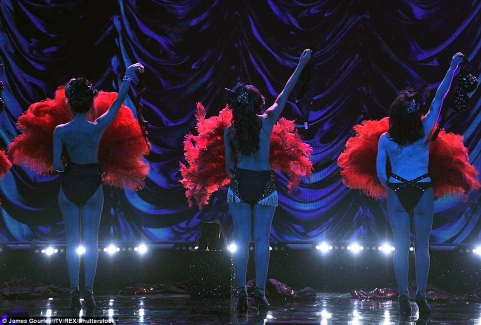 This is the moment the stars removed their tops at the end of the racy routine before covering themselves with the fans
