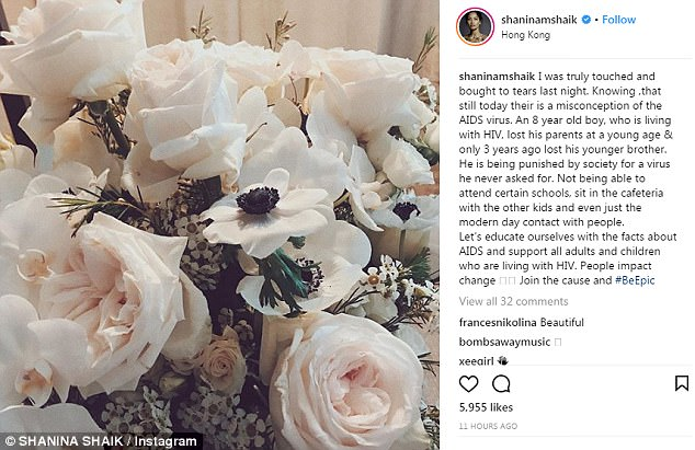Touched:'I was truly touched and bought to tears last night,' Shanina wrote alongside an image of white roses
