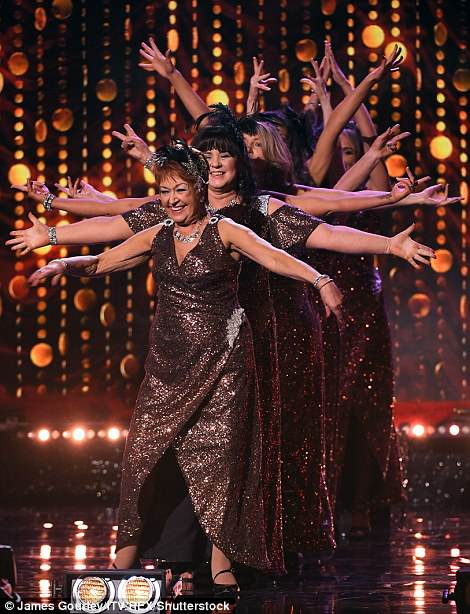 Ruth Madoc pictured at the head of the dancing line of ladies