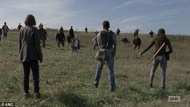 Giving up: Negan's people surrendered as Rick bested their leader