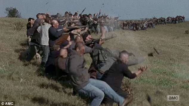 Weapons malfunction: A line of Negan's men opened fire on Rick's people but their guns exploded