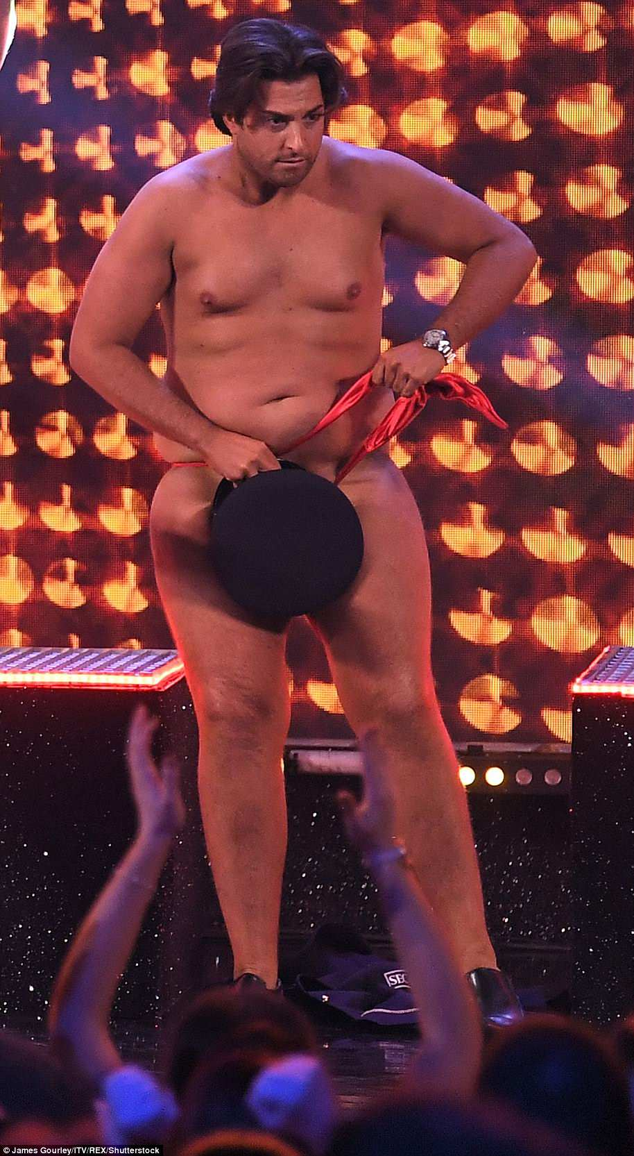 Stripping off: James 'Arg' Argent made a triumphant appearance on stage as part of ITV's The Real Full Monty on Wednesday night to raise awareness for prostate and testicular cancer