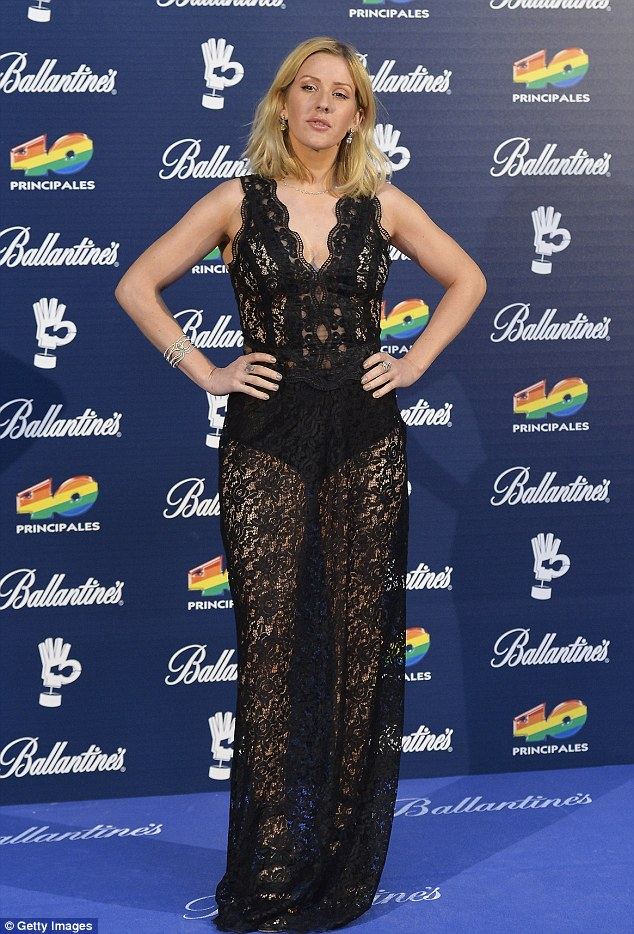 Racy lace: Ellie Goulding hit the red carpet in a racy lace gown