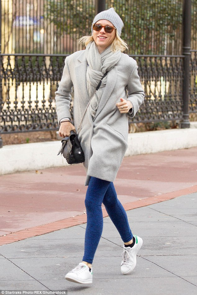Cool yet comfortable: Naomi Watts was spotted braving the cool New York temperatures running errands