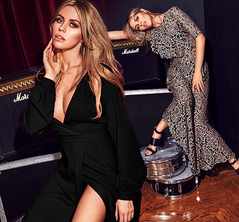 Abbey Clancy models her range of sexy dresses and jumpsuits for Matalan