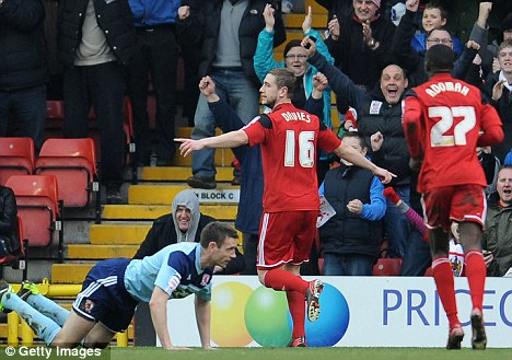 Robins flying: Steven Davies netted City's second