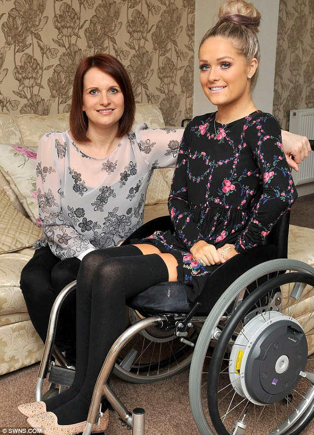 Brave: Jordan Bone who was left paralysed after a car crash in 2005, with her mother