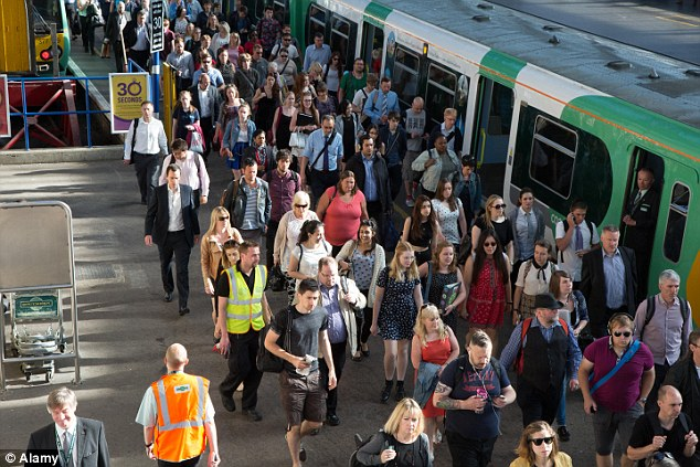 Commuters from Brighton to London, using the notorious 7.29am early morning train, which is widely regarded as the most unreliable service in Britain (file picture)
