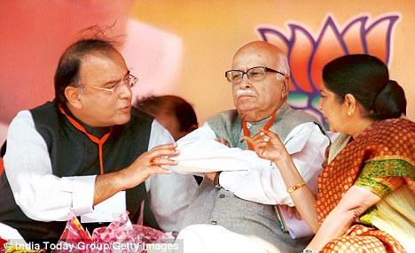BJP leaders LK Advani, Sushma Swaraj and Arun Jaitley during BJP Vijay Sankalp Diwas celebrations at Ramlila Ground in New Delhi on Sunday