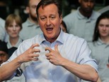 Prime Minister David Cameron during his speech to workers at the Sertec Group in Coleshill, Warwickshire