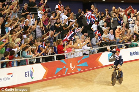 Right on track: Storey's gold rush started on the first day of the Paralympics, in the Individual C5 Pursuit Cycling
