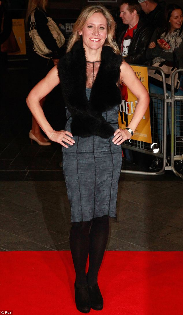 Looking good: Sophie Raworth wears a figure-hugging blue lace dress to the BFI London Film Festival
