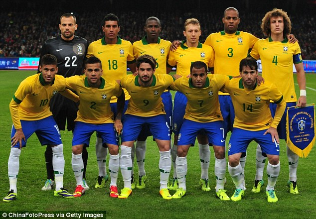 Boys from Brazil: A team shot before kick-off against Zambia