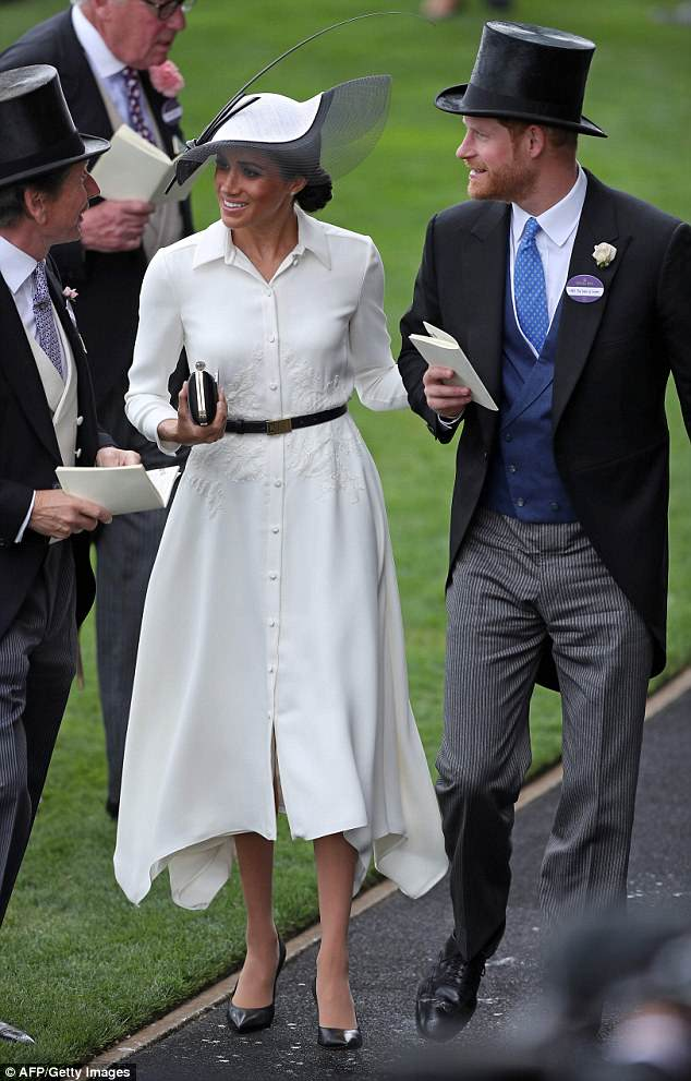 The Duchess of Sussex made her Royal Ascot debut yesterday on the arm of her dashing husband Prince Harry - and eagle-eyed fans were quick to note she didn't wear her name badge in the royal enclosure