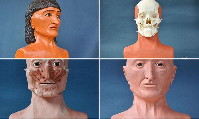 Forensic techniques are used to reconstruct the bandaged head of ancient Egyptian priest