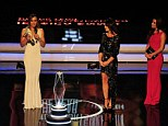 Congratulations: Track and field athlete Jessica Ennis receives her award for 'Laureus Sportswomen of the Year' as presenters Nadia Comaneci and Eva Longoria look on