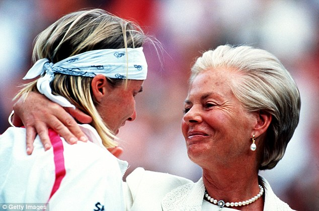 Royal shoulder: In 1993, a tearful Jana Novotna was consoled by the Duchess of Kent after her final loss