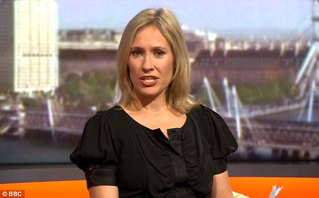 Her usual look: Sophie often wears more modest attire as a BBC newsreader