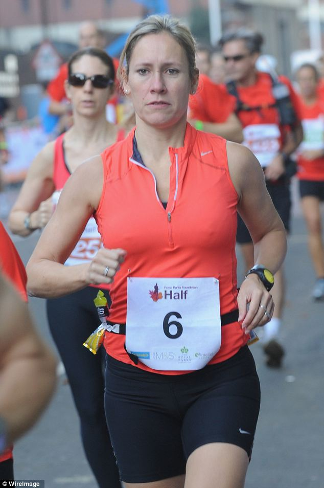 Sports fan: Sophie looked serious as she competed in the Royal Parks Foundation Half Marathon at Hyde Park earlier this month