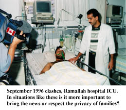 Journalists in Ramallah ICU during September 1996 clashes. Appropriate?