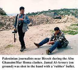 Journalists wounded by 'rubber' bullets during Abu Ghanaim/Har Homa clashes in early 1997