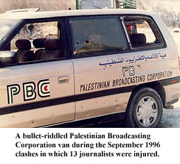Palestinian Broadasting Corporation van riddled with bullet holes during September 1996 clashes