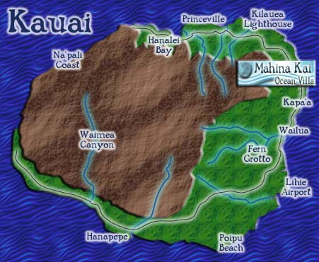 Kauai - the garden isle - map
