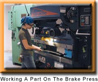 Working a part on the brake press