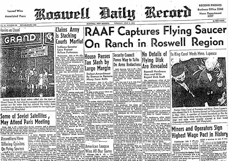 L'affaire de Roswell - 1947 Nouveau Mexique (Enquête sur le crash d'un OVNI dans un ranch) RoswellDailyRecord