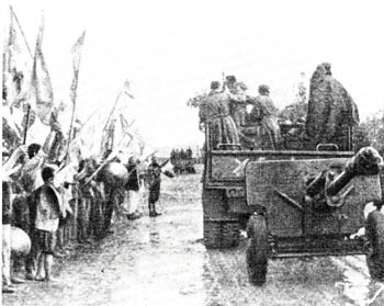 Soviet 39th Army troops entering Wangyemiao