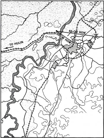 Map 5-3. Japanese Artillery Coverage at Hutou. Click For Full Size Image
