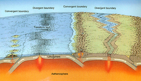 Operation of plate tectonic movements involving several types of boundaries.