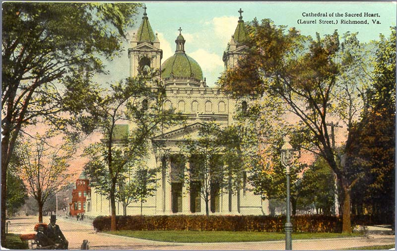 Postcard image of the Cathedral of the Sacred Heart as seen from Monroe Park, ca.1910.