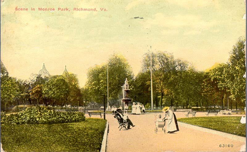 Postcard image of Monroe Park, postmarked 1912.