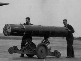 British aerial mine being readied for a misson