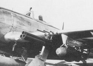 The triple-tube Bazooka rocket launcher on a P-47